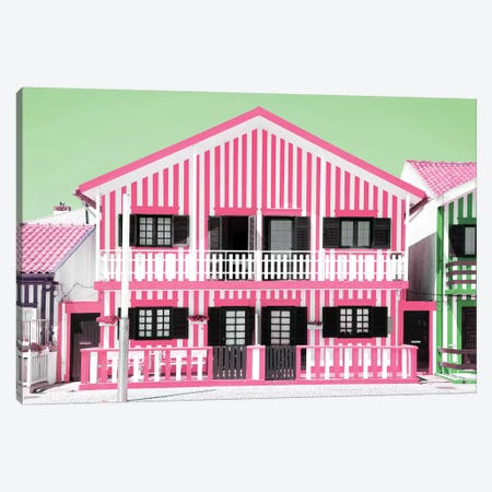 Welcome to Portugal  - Pink Striped House Canvas Print #PHD594} by Philippe Hugonnard Canvas Art Print