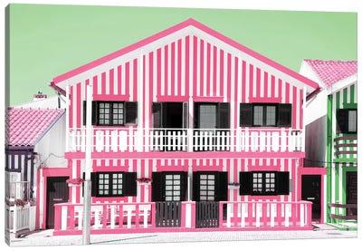 Pink Striped House Canvas Art Print