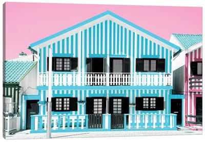 Blue Striped House Canvas Art Print