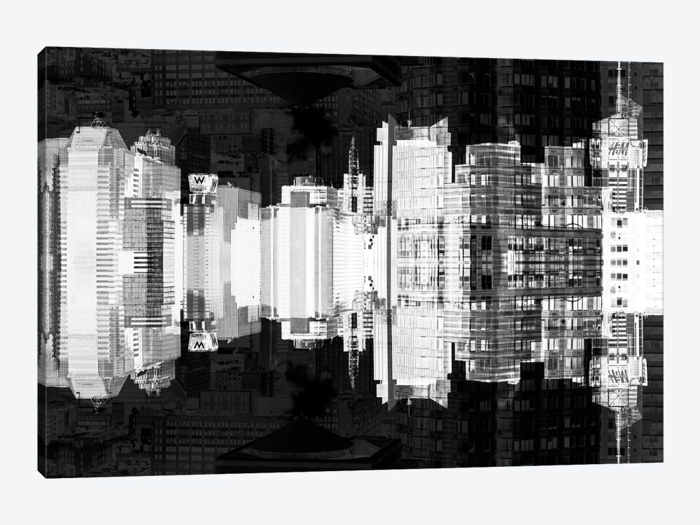 New York Reflection - Times Square Buildings - Infrared by Philippe Hugonnard 1-piece Canvas Wall Art