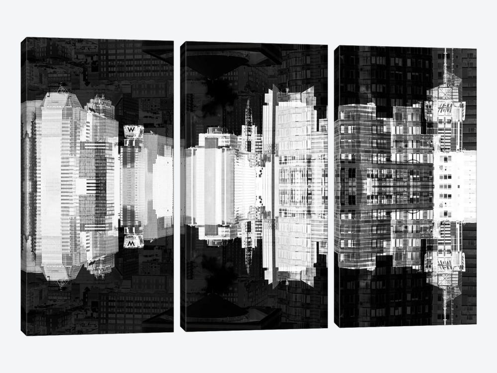 New York Reflection - Times Square Buildings - Infrared by Philippe Hugonnard 3-piece Canvas Art