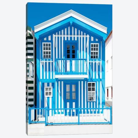 Blue Striped House - Costa Nova Canvas Print #PHD601} by Philippe Hugonnard Canvas Wall Art