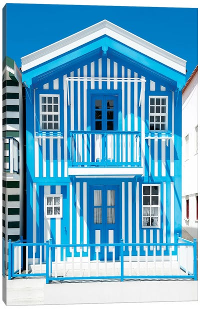 Blue Striped House - Costa Nova Canvas Art Print