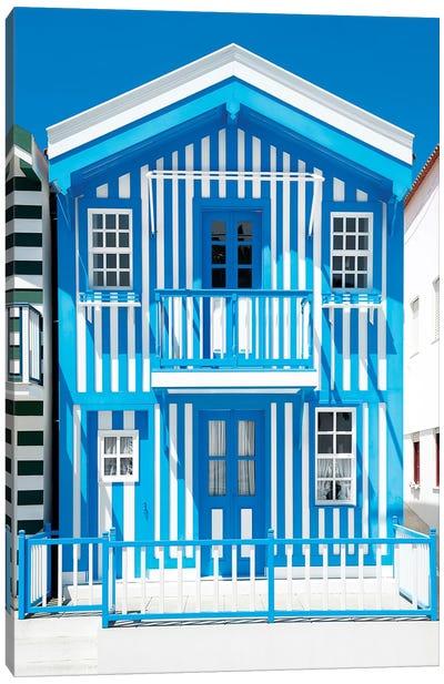Blue Striped House - Costa Nova Canvas Art Print