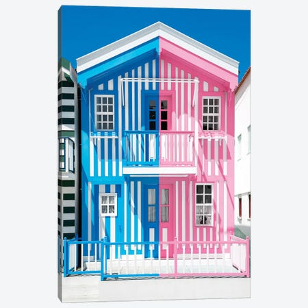 Colorful Striped House Blue & Pink Canvas Print #PHD602} by Philippe Hugonnard Canvas Wall Art