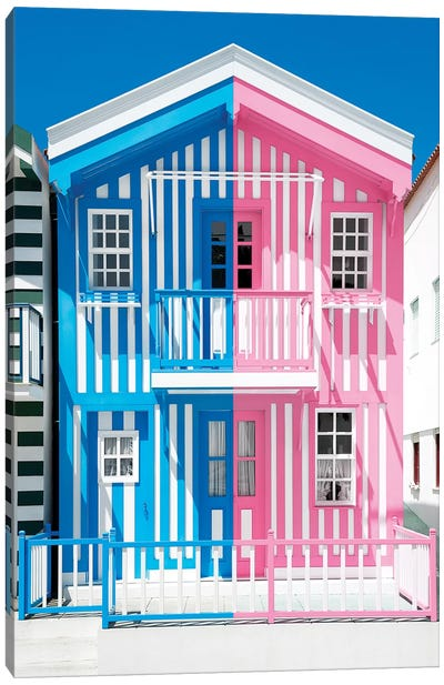 Colorful Striped House Blue & Pink Canvas Art Print
