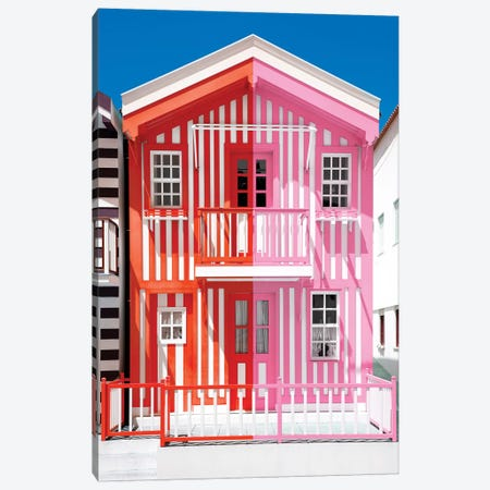 Colorful Striped House Red & Pink Canvas Print #PHD603} by Philippe Hugonnard Canvas Wall Art