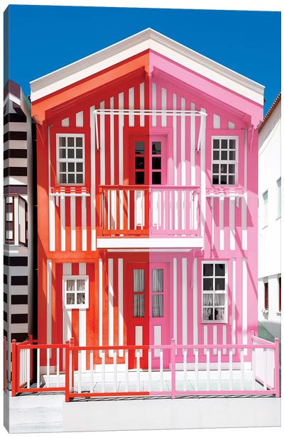 Colorful Striped House Red & Pink Canvas Art Print