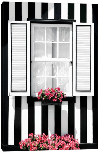 Black and White Striped Window Canvas Art Print