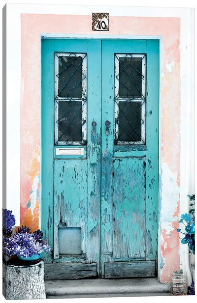 Old Turquoise Door Canvas Art Print