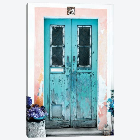 Old Turquoise Door Canvas Print #PHD607} by Philippe Hugonnard Art Print