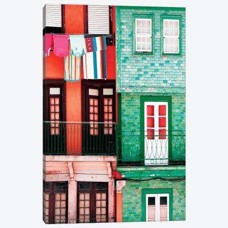 Colourful Facades in Porto Canvas Print #PHD610} by Philippe Hugonnard Art Print