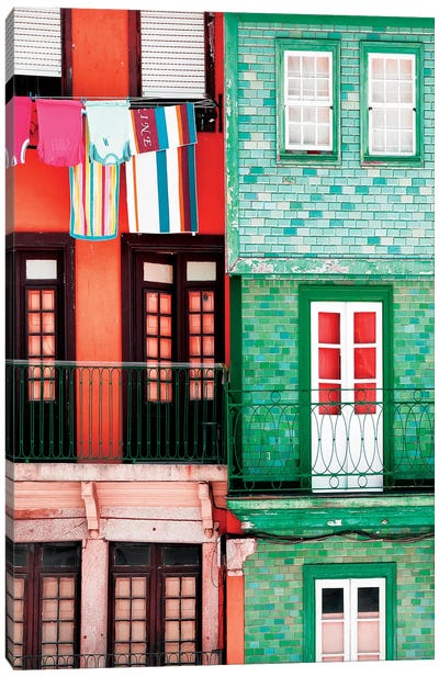 Colourful Facades in Porto Canvas Art Print