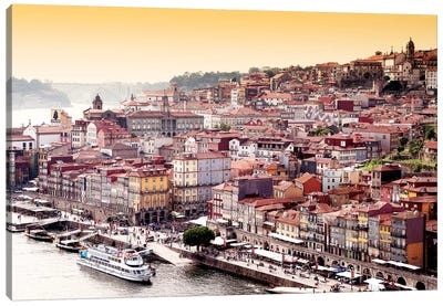 Ribeira View at Sunset - Porto Canvas Art Print