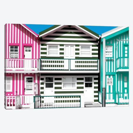 Three Houses with Colorful Stripes Canvas Print #PHD612} by Philippe Hugonnard Canvas Print