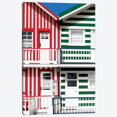 Two Striped Facade Red & Green Canvas Print #PHD613} by Philippe Hugonnard Canvas Art Print