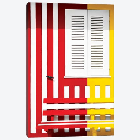 Colorful Facade with Red and Yellow Stripes Canvas Print #PHD614} by Philippe Hugonnard Canvas Wall Art