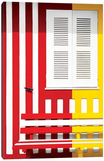 Colorful Facade with Red and Yellow Stripes Canvas Art Print