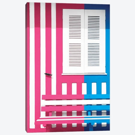 Colorful Facade with Pink and Blue Stripes Canvas Print #PHD615} by Philippe Hugonnard Canvas Wall Art