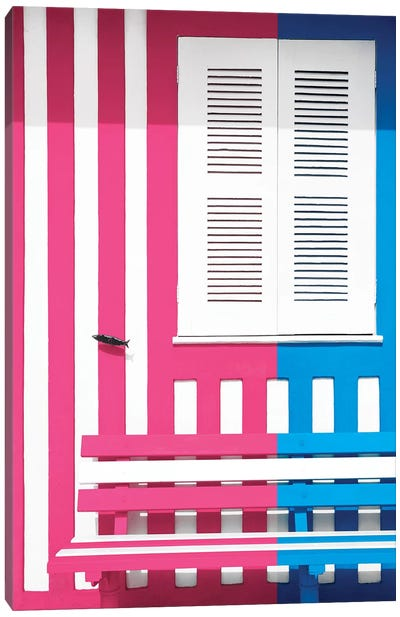 Colorful Facade with Pink and Blue Stripes Canvas Art Print