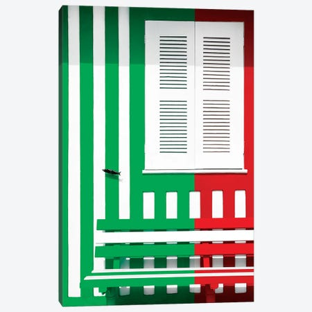 Colorful Facade with Green and Red Stripes Canvas Print #PHD616} by Philippe Hugonnard Canvas Artwork