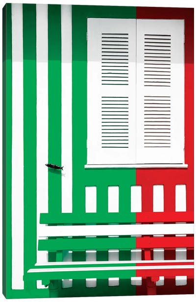 Colorful Facade with Green and Red Stripes Canvas Art Print