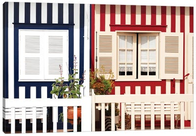 Facade of beach House with Colourful Stripes Canvas Art Print