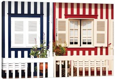Facade of beach House with Colourful Stripes Canvas Art Print