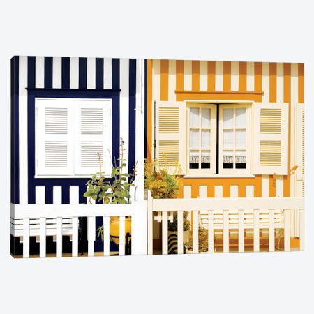Facade of beach House with Colourful Stripes II Canvas Print #PHD618} by Philippe Hugonnard Canvas Print