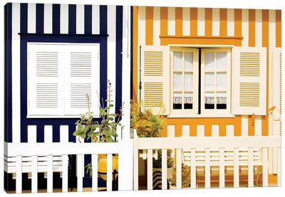 Facade of beach House with Colourful Stripes II Canvas Art Print