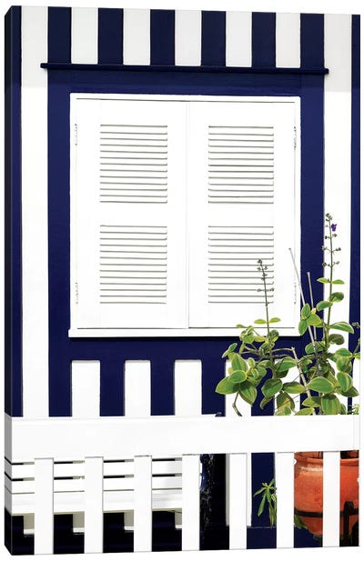 House Facade with Midnight Blue Stripes Canvas Art Print
