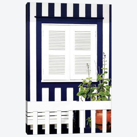 House Facade with Midnight Blue Stripes Canvas Print #PHD619} by Philippe Hugonnard Canvas Art Print