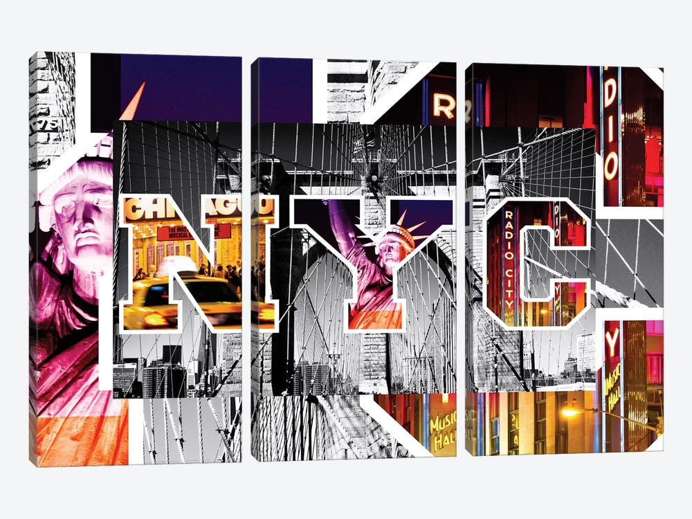 NYC by NYC - Brooklyn Bridge by Philippe Hugonnard 3-piece Canvas Art Print