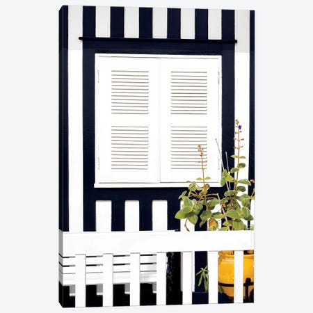 House Facade with Navy Blue Stripes Canvas Print #PHD620} by Philippe Hugonnard Canvas Art