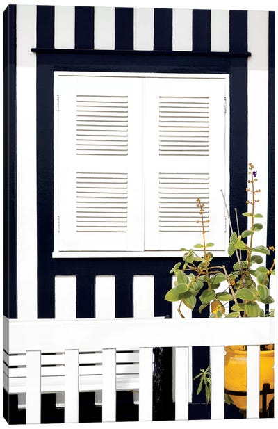 House Facade with Navy Blue Stripes Canvas Art Print