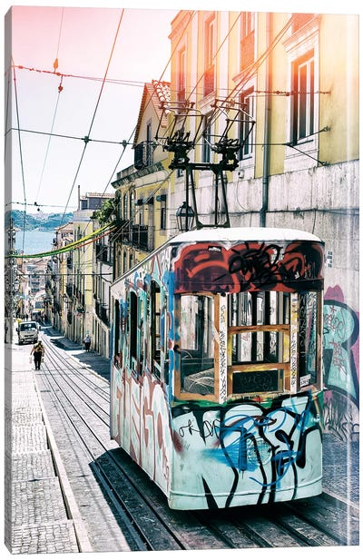 Lisbon Tram Graffiti Canvas Art Print