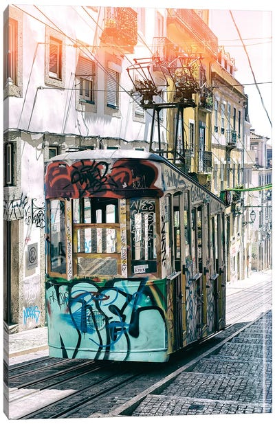 Lisbon Bica Tram Graffiti Canvas Art Print