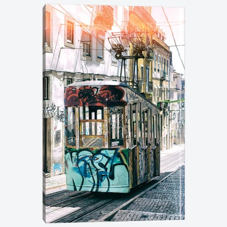 Lisbon Bica Tram Graffiti Canvas Print #PHD626} by Philippe Hugonnard Canvas Print