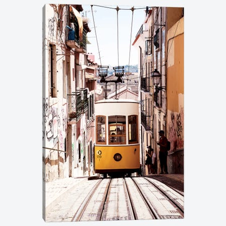 Bica Yellow Tram Canvas Print #PHD627} by Philippe Hugonnard Art Print