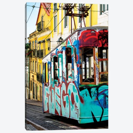 Graffiti Tramway Lisbon Canvas Print #PHD628} by Philippe Hugonnard Canvas Wall Art