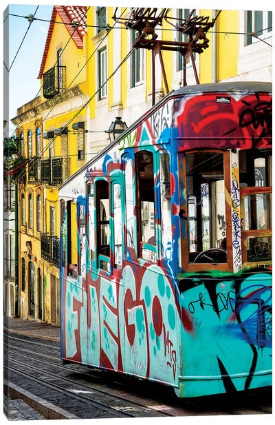 Graffiti Tramway Lisbon Canvas Art Print