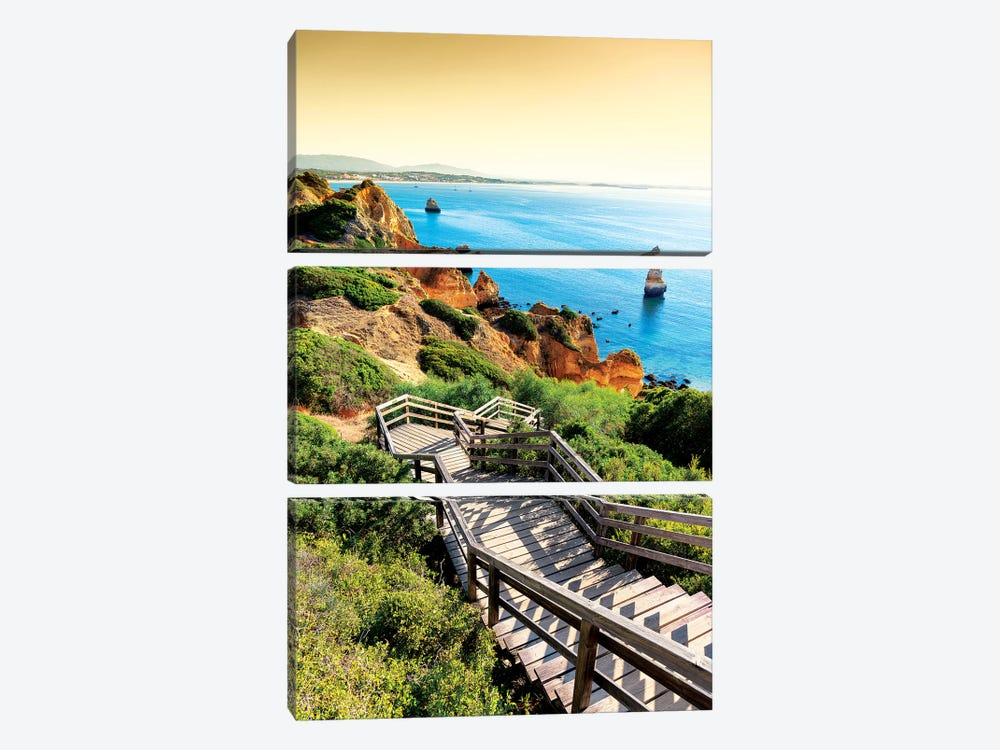 Stairs to Camilo Beach at Sunset by Philippe Hugonnard 3-piece Canvas Print