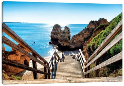 Wooden Stairs to Praia do Camilo Beach Canvas Art Print