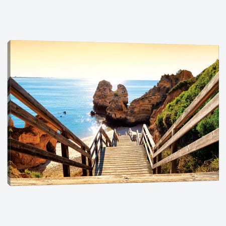 Wooden Stairs to Praia do Camilo Beach at Sunset Canvas Print #PHD632} by Philippe Hugonnard Art Print