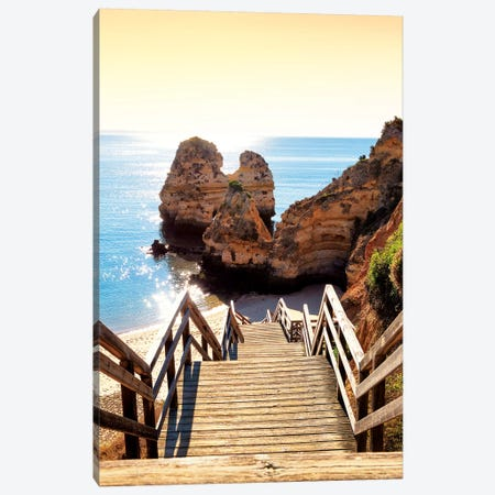 Stairs to the Beach at Sunset Canvas Print #PHD634} by Philippe Hugonnard Canvas Artwork