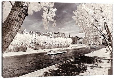 Along The Seine Banks Canvas Art Print