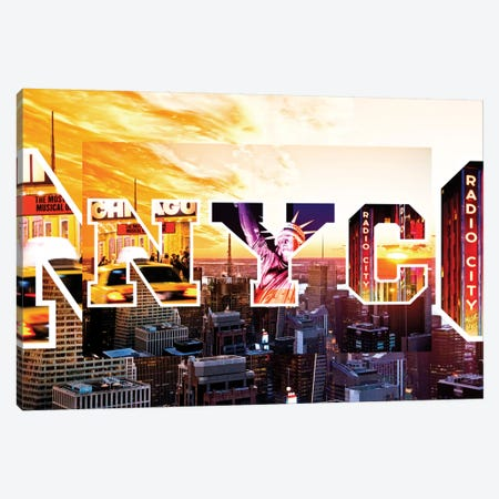 NYC by NYC - Sunset Canvas Print #PHD65} by Philippe Hugonnard Canvas Print