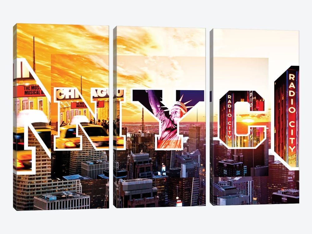 NYC by NYC - Sunset by Philippe Hugonnard 3-piece Canvas Print