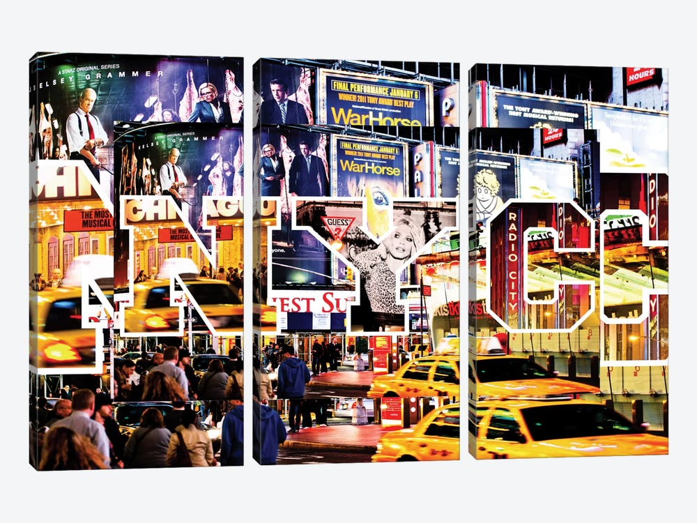 NYC by NYC - Times Square by Philippe Hugonnard 3-piece Canvas Artwork