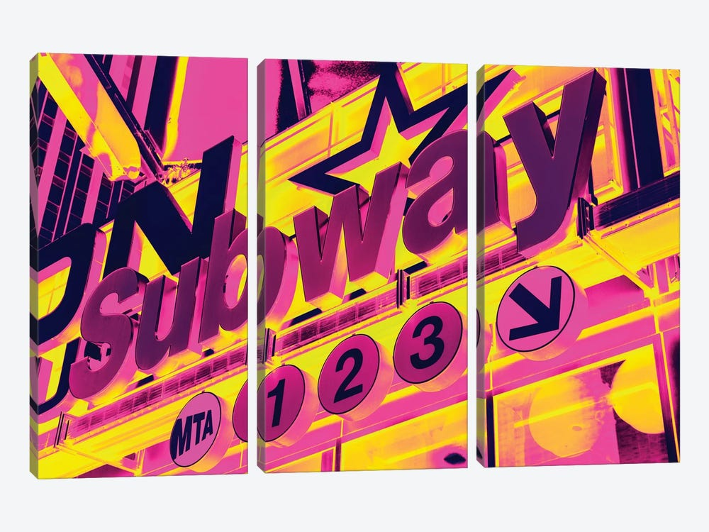 NYC Subway Sign by Philippe Hugonnard 3-piece Canvas Artwork